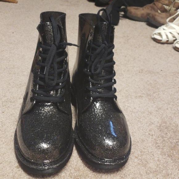 Shoes   Black Sparkly Rain Boots   Poshmark